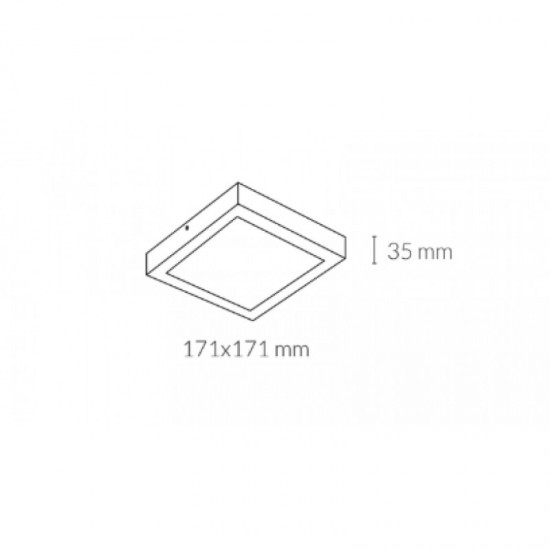 Downlight lamp DISC SQUARE SURFACE 17,1 x 17,1 cm